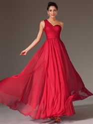 Red One Shoulder Lace Back Chiffon A Line Prom Dress With Pleated Bodice