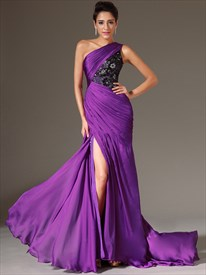 Purple One Shoulder Lace Bodice Chiffon Prom Dress With Side Drape