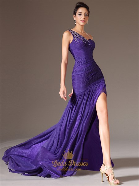 Purple Chiffon One Shoulder High Split Prom Dress With Beaded Detail