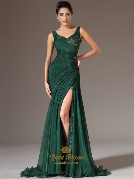 Show details for Emerald Green Chiffon V Neck Beaded Prom Dress With Side Draped Bodice