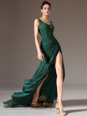 Emerald Green Chiffon V Neck Beaded Prom Dress With Side