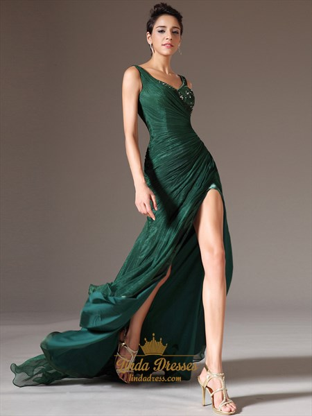 Emerald Green Chiffon V Neck Beaded Prom Dress With Side Draped Bodice