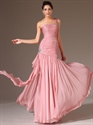 Show details for Pink One Shoulder Beading Chiffon Prom Dress With Cascading Detail