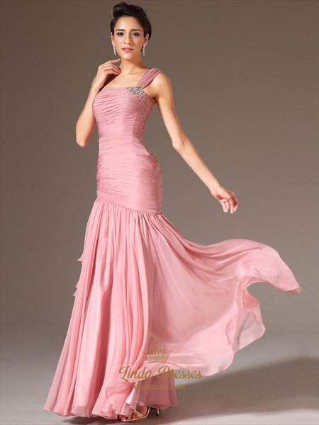 Pink One Shoulder Beading Chiffon Prom Dress With Cascading Detail