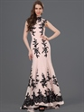 Show details for Pink High Neck Mermaid Chiffon Prom Dress With Black Lace Applique