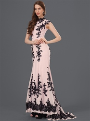 Pink High Neck Mermaid Chiffon Prom Dress With Black Lace Applique