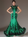 Show details for Green High Neck Mermaid Cap Sleeve Prom Dress With Black Lace Applique