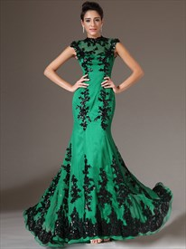 Green High Neck Mermaid Cap Sleeve Prom Dress With Black Lace Applique
