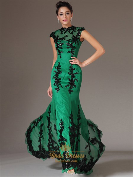 83dbfe8ef320 Green High Neck Mermaid Cap Sleeve Prom Dress With Black Lace Applique