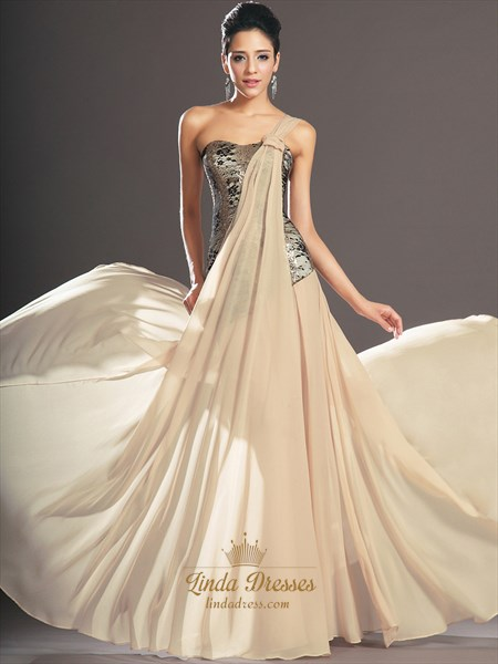 Show details for Champagne One Shoulder A Line Chiffon Prom Dress With Lace Bodice