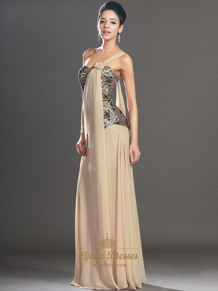 Champagne One Shoulder A Line Chiffon Prom Dress With Lace Bodice