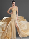 Show details for Gold Chiffon Sleeveless High Split Prom Dress With Beaded Illusion Neck