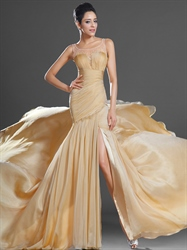 Gold Chiffon Sleeveless High Split Prom Dress With Beaded Illusion Neck