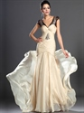 Show details for Light Yellow Sheath V-Neck Chiffon Cap Sleeves Prom Dress With Beading