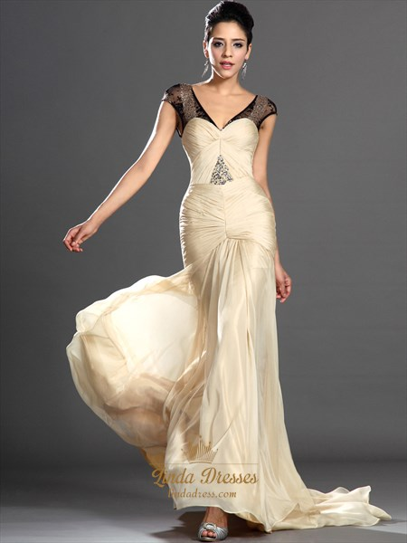 Light Yellow Sheath V-Neck Chiffon Cap Sleeves Prom Dress With Beading