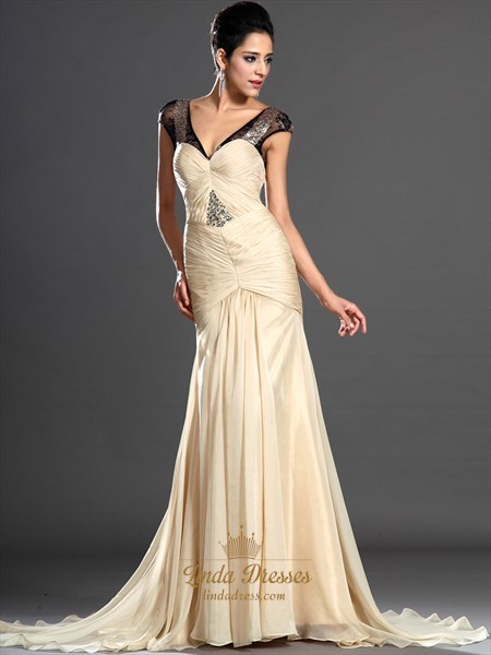 Light Yellow Sheath V-Neck Chiffon Cap Sleeves Prom Dress With Beading