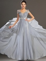 Show details for Grey Chiffon A-Line V-Neck Cap Sleeve Prom Dress With Illusion Lace Back