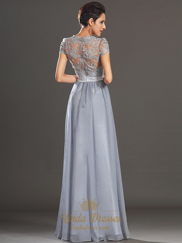 Grey Chiffon A Line V Neck Cap Sleeve Prom Dress With
