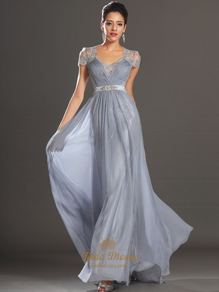 Grey Chiffon A-Line V-Neck Cap Sleeve Prom Dress With Illusion Lace Back