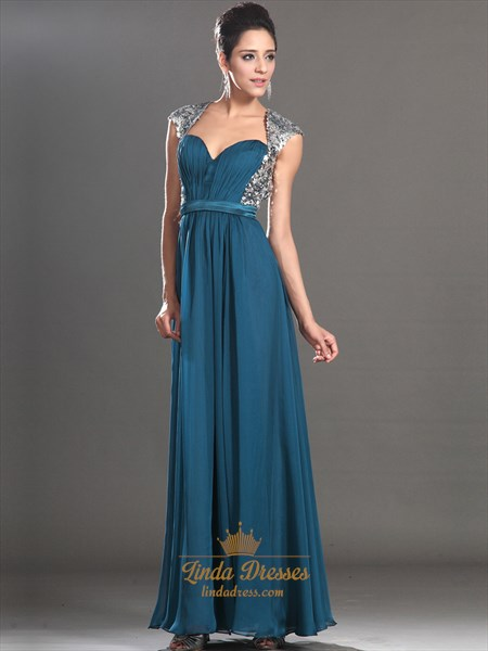 Teal Sweetheart Chiffon Cap Sleeve Open Back Prom Dress With Sequin Top