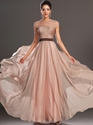 Show details for Pastel Pink Illusion Neckline Cap Sleeves Prom Dress With Ruched Bodice