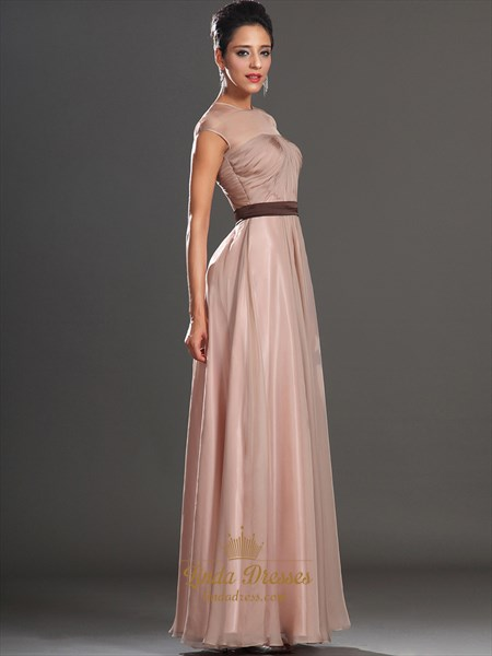 Pastel Pink Illusion Neckline Cap Sleeves Prom Dress With Ruched Bodice