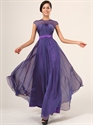 Purple Illusion Neckline Cap Sleeves Prom Dress With Ruched Bodice