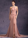 Show details for Pastel Pink Sleeveless Chiffon Dress With Beaded Jewelled Neckline