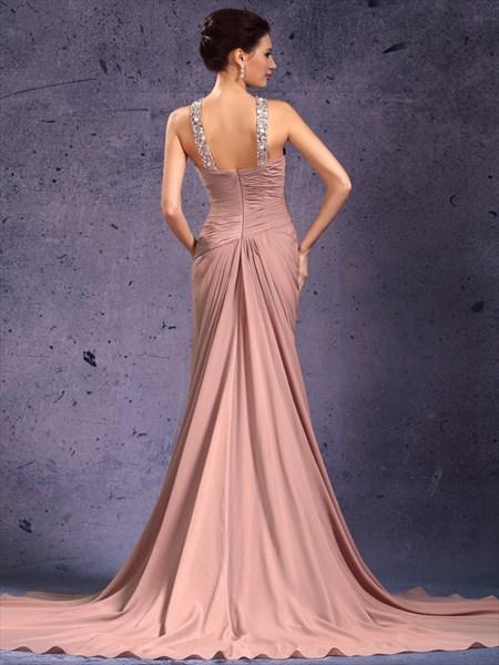 Pastel Pink Sleeveless Chiffon Dress With Beaded Jewelled Neckline