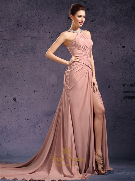 Pastel Pink Sleeveless Chiffon Dress With Beaded Jewelled Neckline