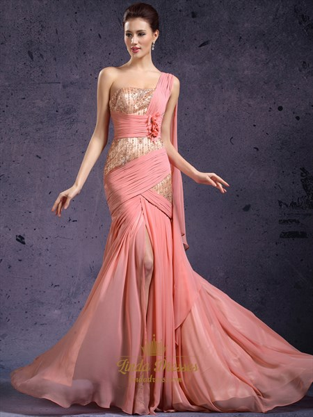 Coral One Shoulder Lace Bodice Chiffon Prom Dress With 3d Floral Detail