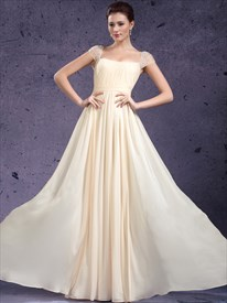 Light Yellow Chiffon Cap Sleeve Prom Dress With Beaded Back Detail