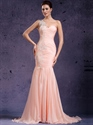 Pink One Shoulder Mermaid Chiffon Prom Dress With Beaded Lace Applique