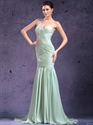 Show details for Mint Green One Shoulder Mermaid Chiffon Prom Dress With Lace Applique