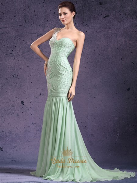 Mint Green One Shoulder Mermaid Chiffon Prom Dress With Lace Applique