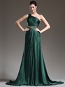 Show details for Emerald Green One Shoulder Chiffon Prom Dress With Beaded Detail