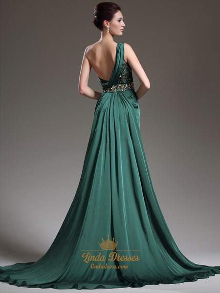 Emerald Green One Shoulder Chiffon Prom Dress With Beaded Detail