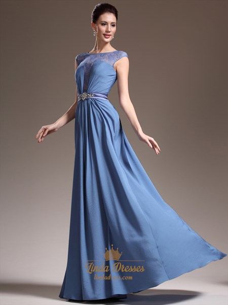 Blue Chiffon Cap Sleeves Prom Dresses With Lace Embellished Bodice
