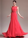 Show details for Red Chiffon Illusion Lace Bodice Prom Dress With Beaded Detail