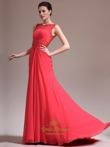 Red Chiffon Illusion Lace Bodice Prom Dress With Beaded Detail