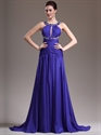 Show details for Royal Blue Sleeveless Chiffon Prom Gown With Jewelled Neckline And Waist