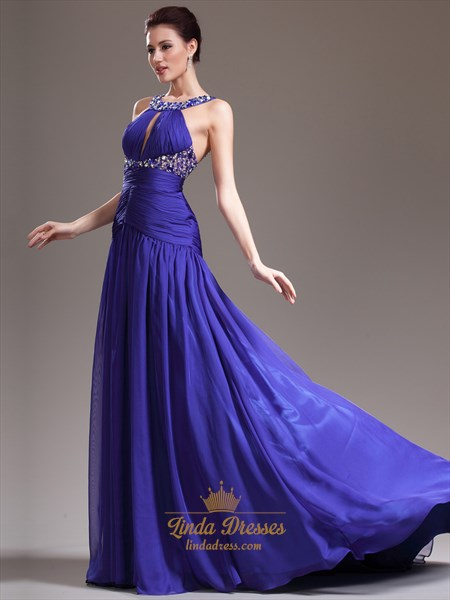Royal Blue Sleeveless Chiffon Prom Gown With Jewelled Neckline And Waist
