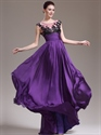 Purple Chiffon Cap Sleeve Prom Dress With Beaded Lace Applique