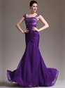 Purple Mermaid Lace Bodice Chiffon Prom Dress With Cap Sleeves
