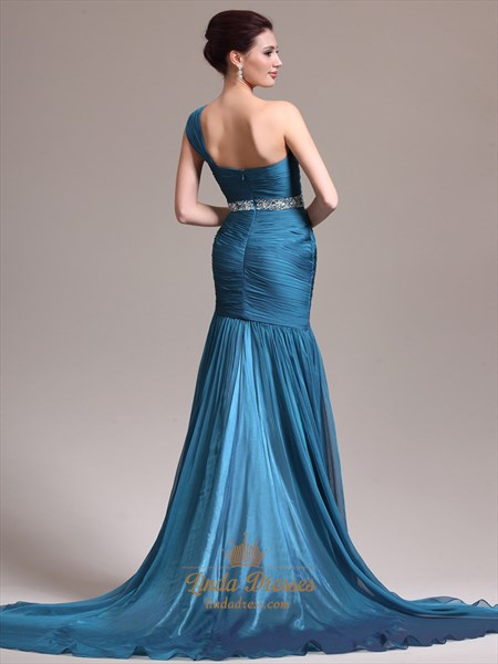 Teal Sheath One Shoulder Chiffon Prom Dress With Rhinestone Detailing