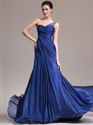 Show details for Royal Blue Chiffon One Shoulder Prom Dress With Beaded Back Detail