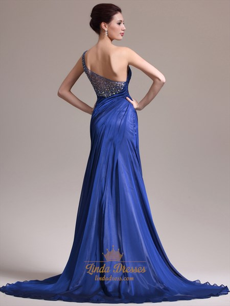 Royal Blue Chiffon One Shoulder Prom Dress With Beaded Back Detail