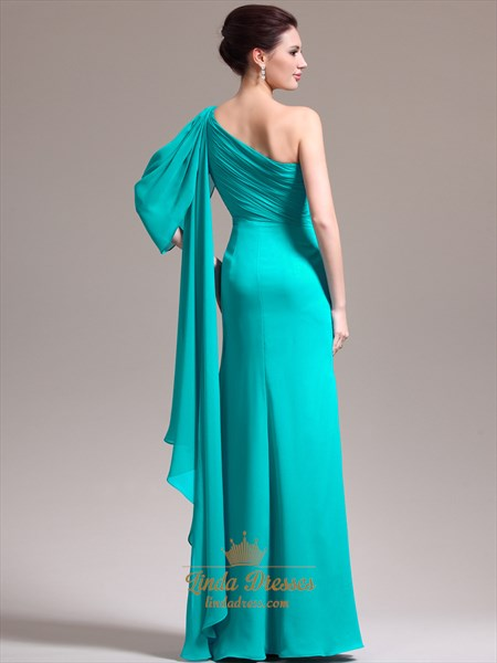 Turquoise Chiffon One Shoulder Beaded Prom Dress With Watteau Train