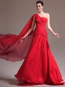 Show details for Red A-Line One Shoulder Floor-Length Prom Dress With Pleated Bodice