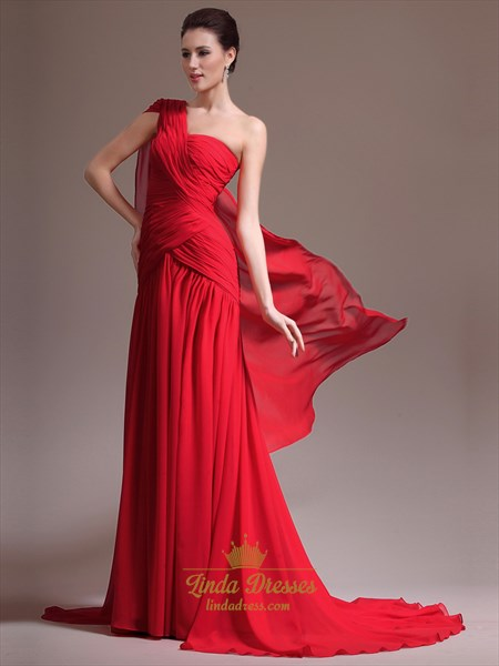 Red A-Line One Shoulder Floor-Length Prom Dress With Pleated Bodice